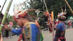 Aboriginal dance performances in Formosan Aboriginal Culture Village, Taiwan Stock Footage