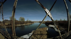 Old steel and wood bridge in Montana Stock Footage