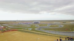 AERIAL VIEW. Russian Karting Championship On Yevpatoriya Route Stock Footage
