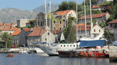 Montenegro docked Sailboats Stock Footage