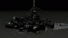 Animated fallen barrels of crude oil with fluid simulation Stock Footage