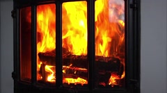 flame in the fireplace - stock footage