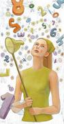 Numerology, girl with buterfly net Stock Illustration