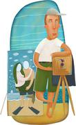 Small business, beach photography Stock Illustration