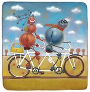 Two molecules on tandem bicycle - stock illustration