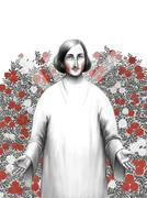 Gogol in rosarium Stock Illustration