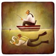 Freelance work metaphor - stock illustration