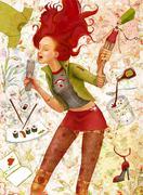 singing teenage girl - stock illustration