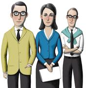 Three office employees - stock illustration