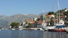 Montenegro - Perast the Beutiful fishing village in Boka Bay - stock footage