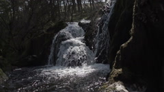 Pretty Spring Fresh Waterfall In Mid Wales UK Stock Footage