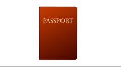 red and blue passport animation on  white background - stock footage