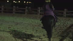 Skilled female circus performer riding beautiful horse at arena, entertainment Stock Footage