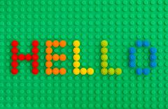 Stock Photo of Word Hello spell out from Lego Round Bricks