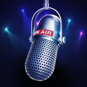 microphone with an on air icon - stock illustration