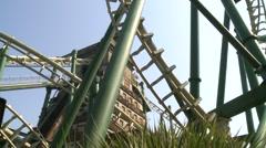 Staff in roaller coaster, Formosan Aboriginal Culture Village, Taiwan Stock Footage