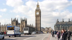 4K Footage of Westminster Bridge, Big Ben, Houses of Parliament Stock Footage