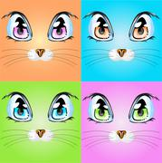 Stock Illustration of Set with colorful cats.