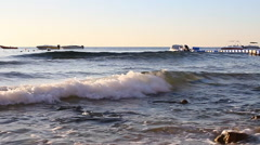 Large waves of the Red Sea - stock footage