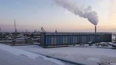 Undustrial landscape Harbor in winter port city Helsinki, Finland, Europe Stock Footage
