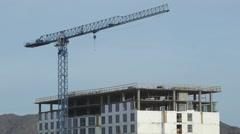 Hotel construction Wide Tilt Down - stock footage