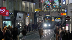 Trams moving on Sackstraße street on Christmas in Graz Stock Footage