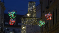 Street decorated with Christmas presents on Christmas in Graz Stock Footage