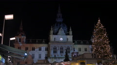 Calendar projected onto the Town Hall during the Christmas market in Graz Stock Footage