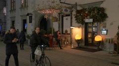 Christmas decorations in front of a building in Graz Stock Footage