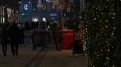 Walking in the Main Square on Christmas in Graz Stock Footage
