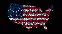 Hands form country outlines symbol with colors USA flag on black background - stock footage