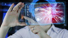 Doctor with futuristic hud screen tablet. Neurons, brain impulses. future Stock Footage