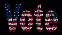 Hands form the text Vote with colors USA flag on a black background. Stock Footage