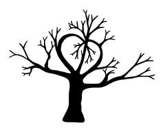 Silhouette of a tree in the shape of a heart. Isolated on white background. - stock illustration
