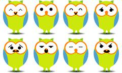 Set of cartoon owls with various facial expressions. Stock Illustration