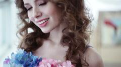 Professional fashion model. Beauty portrait, beautiful girl smiling at camera. Stock Footage