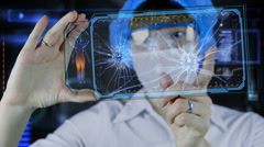 Doctor with futuristic hud screen tablet. Neurons, brain impulses. future - stock footage