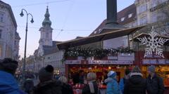 Street stall on Herrengasse street on Christmas in Graz Stock Footage