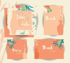 Wedding invitation card templates, wedding set with floral seamless pattern - stock illustration