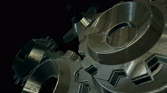 Metallic Rotating Gears - stock footage