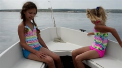 Two little girls goes on boat, Adriatic Sea - stock footage