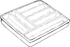 Single Empty Cutlery Tray Outline - stock illustration