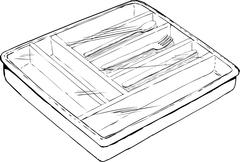 Eating Utensil Tray with Plastic Cover Stock Illustration