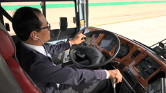 Intercity bus driver in South Korea Stock Footage