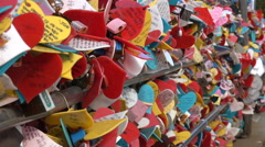 Colorful hearts with hand written love messages in South Korea Stock Footage