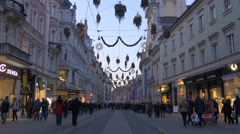 Walking by Cadenzza and Calzedonia stores on Herrengasse on Christmas in Graz Stock Footage