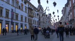 Tourists and locals walking by the Landeszeughaus on Christmas, Graz Stock Footage