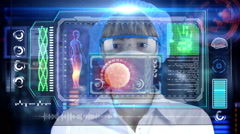 Doctor with futuristic hud tablet. Sperm, spermatozoons ovule to egg cell. Stock Footage