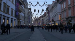 People walking in front of the Landeszeughaus on Christmas in Graz Stock Footage