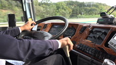 Steering wheel and hands of a bus driver in South Korea Stock Footage